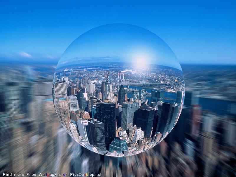 Вид города сквозь сферу - Города - Картинки, обои, фото - Рисунки скачать бесплатно.